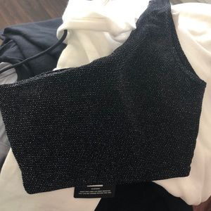 Black One Shoulder Crop Top